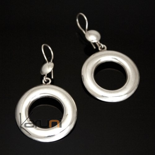 Ethnic Hoop Earrings Sterling Silver Jewelry Smooth Round Tuareg Tribe Design KARUNI Inspired 41