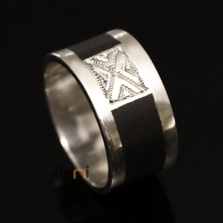Ethnic Engagement Ring Wedding Jewelry Sterling Silver Ebony Square Engraved Men/Women Tuareg Tribe Design KARUNI