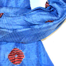 Scarf Stole Krama Silk Tie and Dye Cambodia Design Klein Blue Ambel Sarany Shop 02