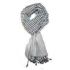Scarf Stole Krama Cotton Cambodia Design Men/Women Checks Plaid Bassac Sarany Shop White/Black 140x40 cm