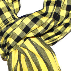 Scarf Stole Krama Cotton Cambodia Design Men/Women Big Checks Plaid Bassac Sarany Shop Light Yellow Black 160x60 cm