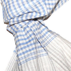 Scarf Stole Krama Cotton Cambodia Design Men/Women Small Checks Plaid Bassac Sarany Shop Light Blue Beige 160x40 cm