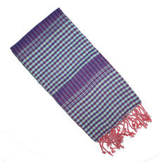 Scarf Stole Krama Cotton Cambodia Design Men/Women Small Checks Plaid Bassac Sarany Shop Beige Brown Burgundy 160x55 cm