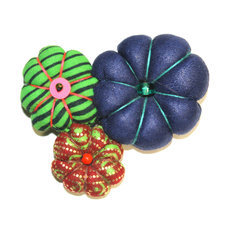 African Jewelry Fashion Brooch in Wax Flower Design Madame Ocher/Blue TOUBAB PARIS