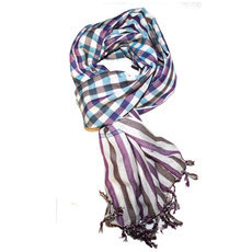 Scarf Stole Krama Cotton Cambodia Design Men/Women Big Checks Plaid Bassac Sarany Shop Burgundy Turquoise 160x60 cm