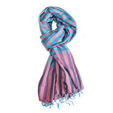 Scarf Stole Krama Cotton Cambodia Design Men/Women Big Checks Plaid Bassac Sarany Shop Turquoise Blue/Pink 170x80 cm
