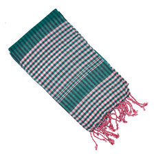 Scarf Stole Krama Cotton Cambodia Design Men/Women Small Checks Plaid Syrana Sarany Shop Pink Green 160x55 cm