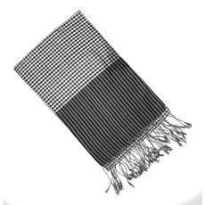 Scarf Stole Silk Krama Cambodia Design Small Checks Plaid Black White Mony Sarany Shop 170x50 cm