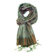 Scarf Stole Silk Krama Cambodia Design Small Checks Plaid Turquoise /Orange/Green Mony Sarany Shop 170x50 cm