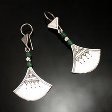 Ethnic Earrings Sterling Silver Jewelry Lotus Green Shat-Shat Tuareg Tribe Design 43 5,5 cm