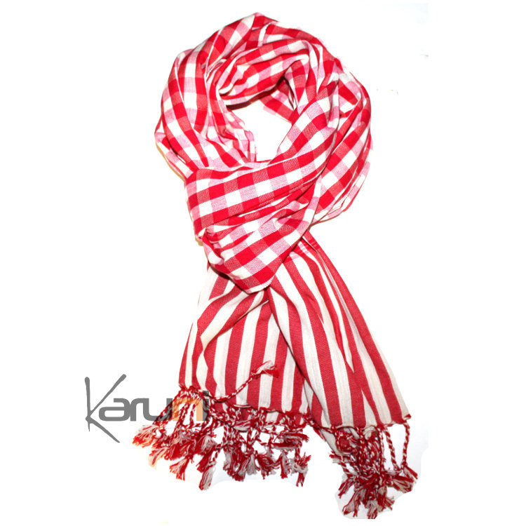 Scarf Stole Krama Cotton Cambodia Design Men/Women Big Checks Plaid Bassac Sarany Shop Red/White 160x55 cm