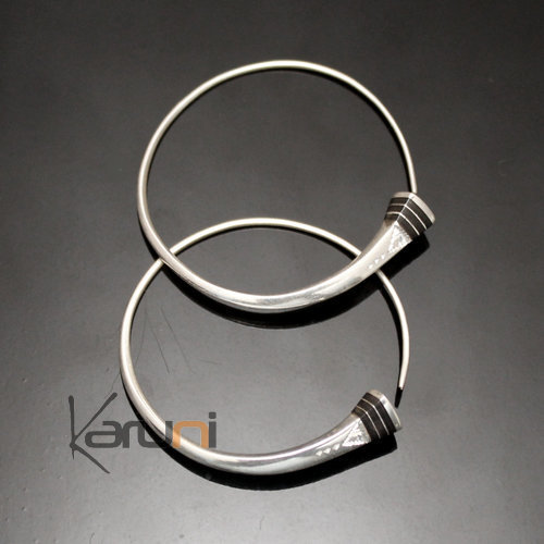 Ethnic Hoop Earrings Sterling Silver Jewelry Tesibit Ebony Engraved Tuareg Tribe Design 03 3 cm