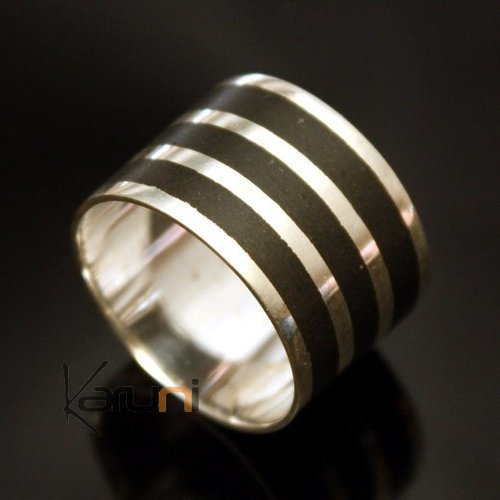 Ethnic Engagement Ring Wedding Jewelry Sterling Silver Ebony Large Strips 3 Men/Women Tuareg Tribe Design KARUNI