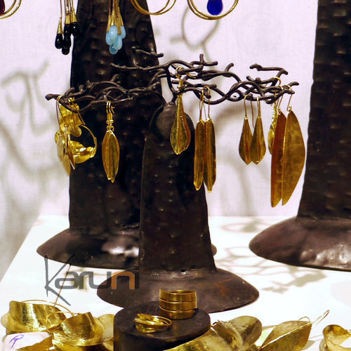 Fulani Earrings Golden Bronze Long Drops African Ethnic Jewelry Mali 01