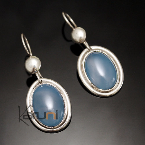 Oval Tuareg Earrings in Silver and Blue Agate Stone 04