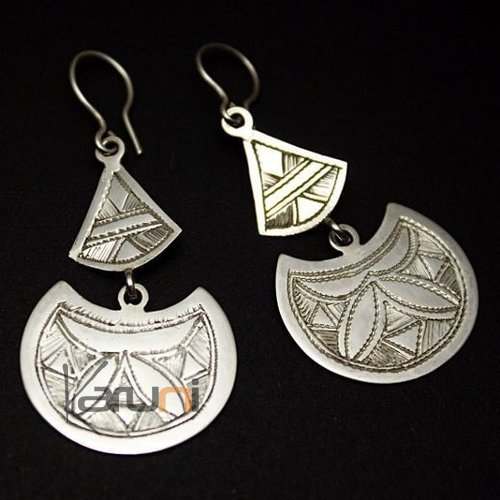 Tuareg Earrings Engraved Berber Silver Leaf 07
