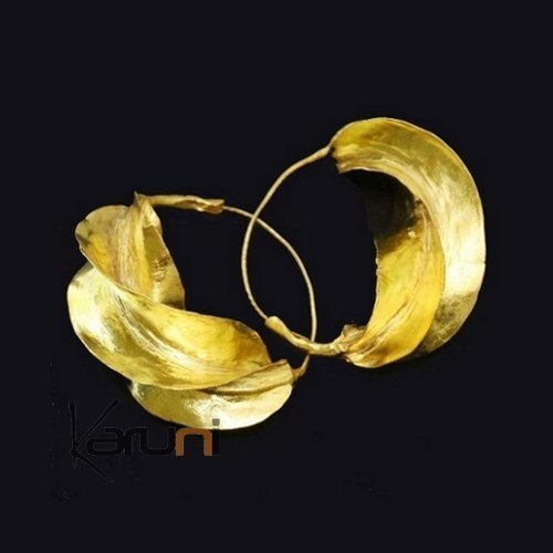 Fulani Fancy Earrings Golden Bronze Leaf 4 cm