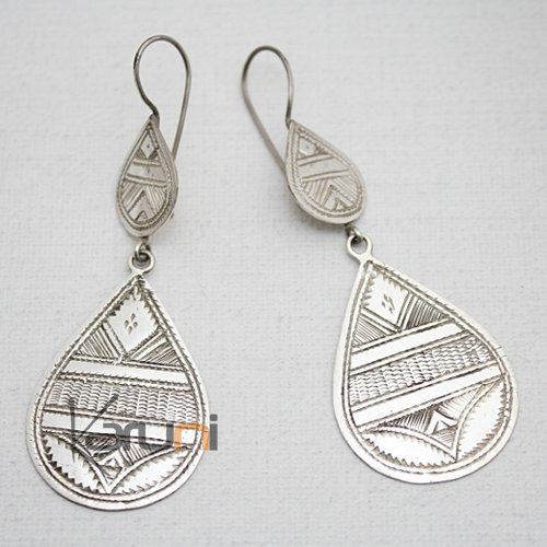 Tuareg Ethnic Jewelry Earrings Silver Large Engraved Drops 03