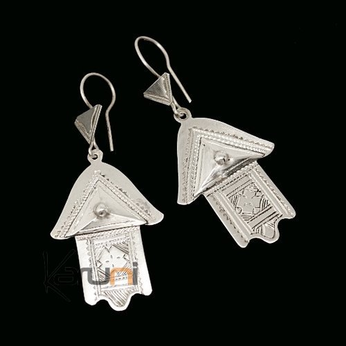Tuareg Ethnic Jewelry Silver Earrings 72 Hand of Fatma Khamsa