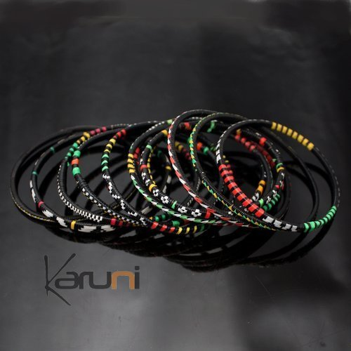 Ethnic African Jewelry Plastic Bracelets Men / Women / Child Lot 6 or 12 Green/Red From Mali b