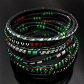 Ethnic African Jewelry Plastic Bracelets Men / Women / Child Lot 6 or 12 Green/Red From Mali