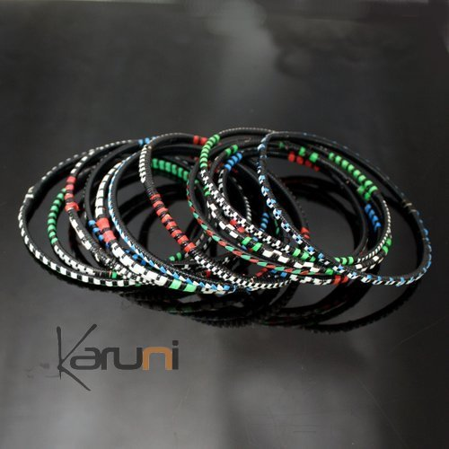 Ethnic African Jewelry Plastic Bracelets Men / Women / Child Lot 6 or 12 Green/Red/Blue From Mali b