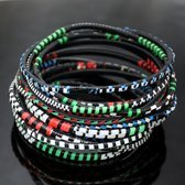 Ethnic African Jewelry Plastic Bracelets Men / Women / Child Lot 6 or 12 Green/Red/Blue From Mali