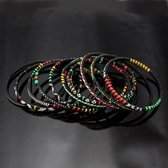 Ethnic African Jewelry Plastic Bracelets Men / Women / Child Lot 6 or 12 Green/Red/Yellow From Mali b
