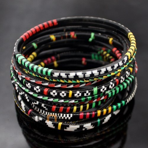 Ethnic African Jewelry Plastic Bracelets Men / Women / Child Lot 6 or 12 Green/Red/Yellow From Mali