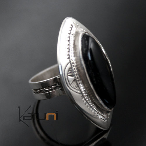 Ethnic Marquise Ring Sterling Silver Jewelry Long Black Onyx Tuareg Tribe Design 05