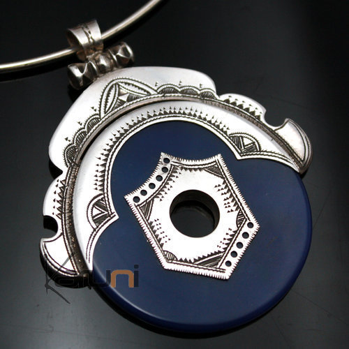 Ethnic jewellery Sterling silver pendant blue agate