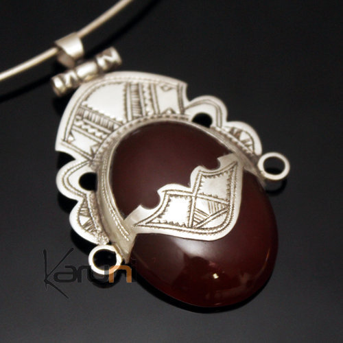 African Necklace Pendant Sterling Silver Ethnic Jewelry Goddess Head Oval Red Agate Tuareg Tribe Design 03