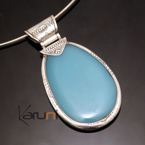 African Necklace Pendant Sterling Silver Ethnic Jewelry Big Drop Light Blue Agate Tuareg Tribe Design 01