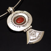 African Necklace Pendant Sterling Silver Ethnic Jewelry Black Onyx Oval Triangle Tuareg Tribe Design 14