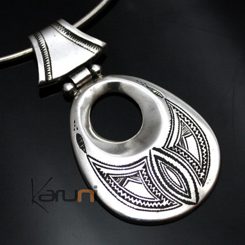 African Necklace Pendant Sterling Silver Ethnic Jewelry Big Engraved Drop Tuareg Tribe Design 25