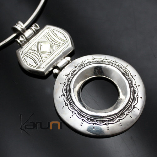 African Necklace Pendant Sterling Silver Ethnic Jewelry Big Engraved Round Tuareg Tribe Design 24