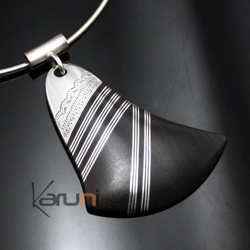 Ethnic Necklace Pendant Sterling Silver Jewelry Ebony Leaf Tuareg Tribe Design  KARUNI 03