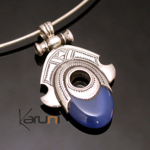 African Necklace Pendant Sterling Silver Ethnic Jewelry Goddess Head Oval Blue Agate Tuareg Tribe Design 02