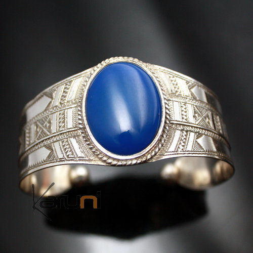 Ethnic Bracelet Sterling Silver Jewelry Large Engraved Blue Agate Oval Tuareg Tribe Design  KARUNI