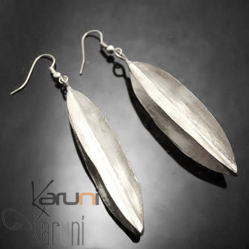 Fulani Earrings Plated Silver Long Leaves African Ethnic Jewelry Mali
