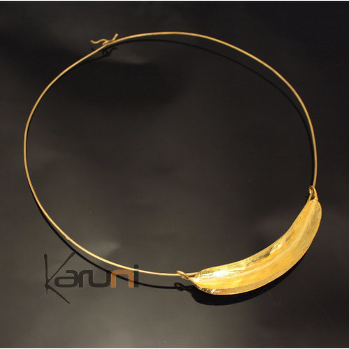 Ethnic African Jewelry Chocker Necklace Bronze Fulani Tribe Big Leaf Simple Design KARUNI