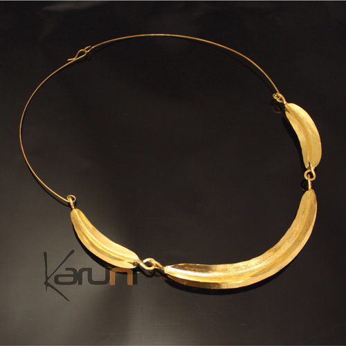 Ethnic African Jewelry Chocker Necklace Bronze Fulani Tribe 3 Leaves S Design KARUNI