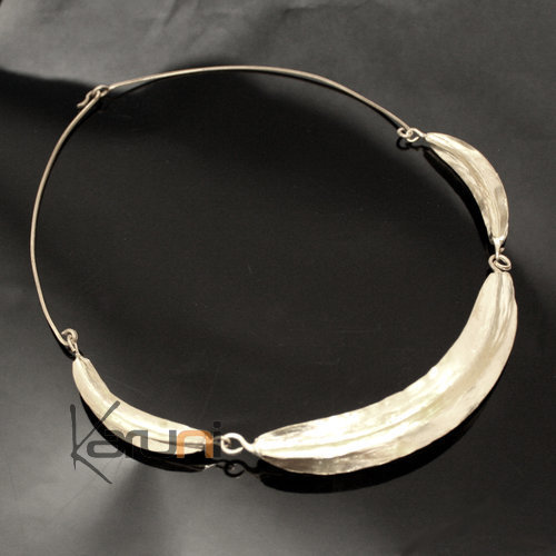 Ethnic African Jewelry Chocker Necklace Silver Plated Fulani Tribe 3 Leaves Design KARUNI