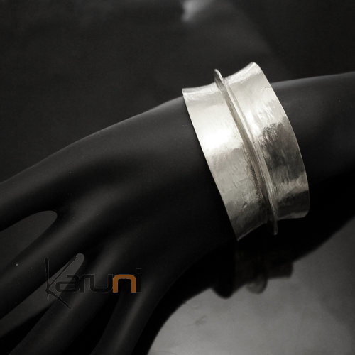Ethnic African Jewelry Bracelet Bronze Silver Plated Fulani Tribe Leaf 03 Design KARUNI