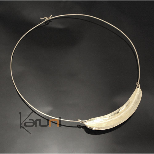 Ethnic African Jewelry Chocker Necklace Silver Plated Fulani Tribe Big Leaf Simple Design KARUNI
