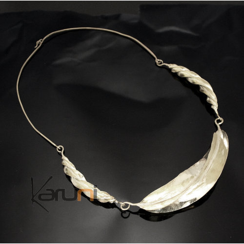 Ethnic African Jewelry Chocker Necklace Silver Plated Fulani Tribe 3 Leaves Twist Large Design KARUNI