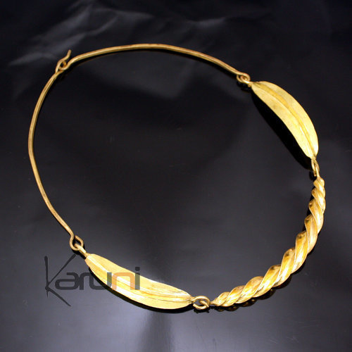 Ethnic African Jewelry Chocker Necklace Bronze Fulani Tribe 3 Leaves Twist S Design KARUNI