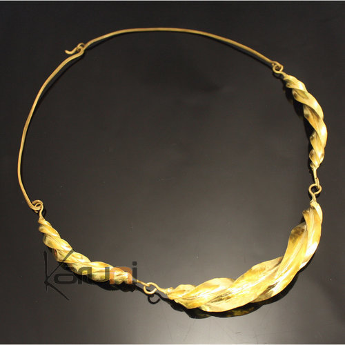 Ethnic African Jewelry Chocker Necklace Bronze Fulani Tribe 3 Leaves Twist S Design KARUNI 02