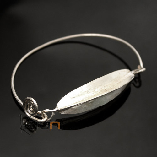 Ethnic African Jewelry Bracelet Silver Plated Fulani Tribe Leaf Thin Clasp Design KARUNI