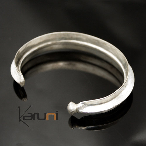 Ethnic African Jewelry Bracelet Silver Plated Fulani Tribe Leaf Ball Design KARUNI